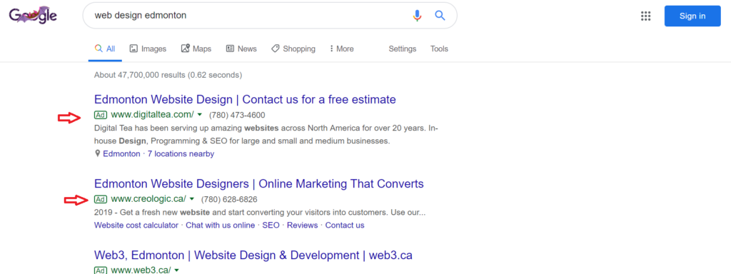Creologic web design Google ad in search results