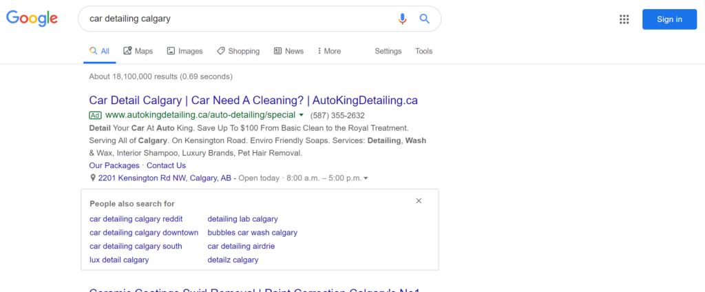 Car detailing Google PPC ad