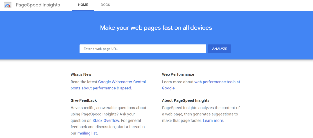 Google Page Speed Insights SEO tool
